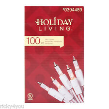 Holiday Living CLEAR Mini Christmas Lights 100ct White Wire Birthday Party LOR