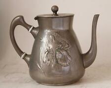Antique German Art Nouveau/Jugendstil Tea Pot by Kayserzinn #4189 1890s