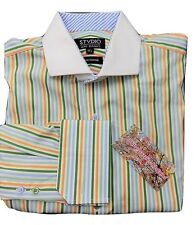 "JEFF BANKS, STUDIO MANS LONG SLEEVE SHIRT COLLAR 15.5"" DOUBLE CUFF  MIX STRIPE"