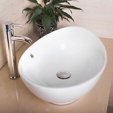 Bathroom Oval Ceramic Vessel Sink Bowl Pop-up Drain Faucet Combo Home Improve