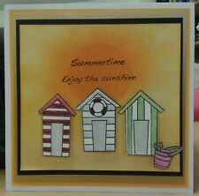 Unmounted rubber stamp set of Beach Huts - REDUCED