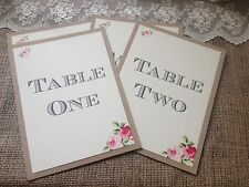 1 Rustic/Vintage Shabby chic Style 'Charlotte/Vintage Rose' wedding table number