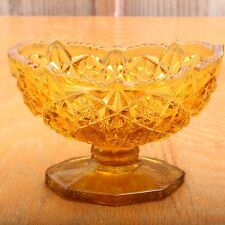 Vintage Amber Oval Footed Glass Snowflake Pattern Candle Holder Compote
