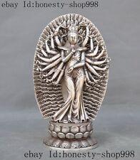 Old Tibet Fane Silver 1000 Arms Avalokiteshvara Kwan-yin Guanyin Goddess Statue