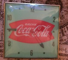 """Vintage 1960 PAM Drink Coca Cola Fishtail 15"""" Lighted Clock Sign~Works Great"""