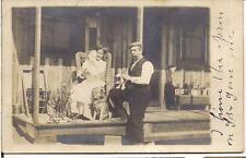 Happy Harmonious Pipe Man Woman Cats Dog On Rustic Porch 1910s Photo Postcard