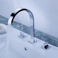 Two Handles Widespread Waterfall Faucet Brass Chrome Bathroom Sink Roman Tub