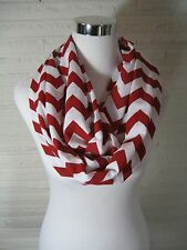 LONG Crimson Red and White Chevron Jersey Knit Infinity Scarf - handmade in USA