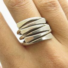 Mexico Vtg 925 Sterling Silver Modernist  Multi-Row Wide Bar Ring Size 7