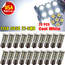 20 x 5050 7000K White 1156 BA15S RV Trailer Interior 12V LED Lights Bulbs 27 SMD