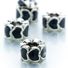 5Pcs Black Enamel Silver Plated Heart To Heart Beads Fit European Charm Bracelet