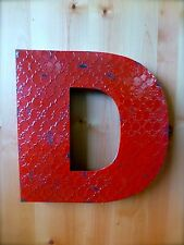 """INDUSTRIAL RED METAL WALL LETTER """"D"""" 20"""" TALL rustic vintage decor antique sign"""