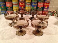 Set of 6 vintage Libbey Tawny Camellia champagne cocktail sorbet glasses