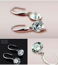 S925 Silver Drop Hook Earrings Clear Round Cubit Zirconia Crystal