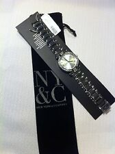 NY & C New York & Company Women Watch NWT  Silver with Velvet Pouch