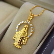"24K Yellow Gold Filled Pendant Necklace Virgin Mary 18""chain Link GF Jewelry New"