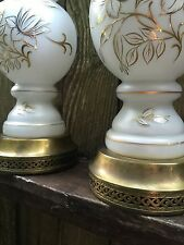 Pair Of Vtg Leviton White Glass Lamps Hand Painted White Flowers Gold Trim 70's