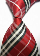 New Black Red White Stripe Scottish Tartan Style Mens Silk Tie UK Seller Father