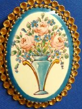 Vintage antique costume jewelry hand painted flowers vase boquet pin brooch
