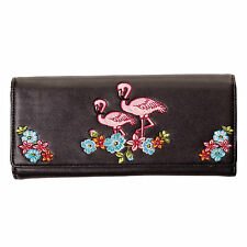 Black Kitsch Flamingo Vintage 50s Rockabilly Retro Wallet Purse UK