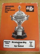 17/09/1974 Birmingham City v Ayr United [Texaco Cup] (creased, stained). Trusted