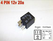 4 PIN 12v 20amp MICRO RELAY NORMALLY OPEN RESISTER ACROSS COIL CAR BIKE ( Y5 )