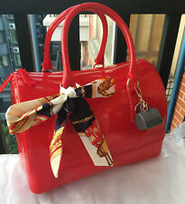 Glitter Red ! 30cm  Extra Large Women Silicone Bag Candy Color PVC Jelly Handbag