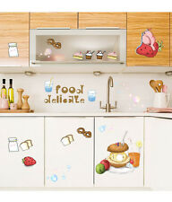 Wall Stickers for Kitchen Cabinet Decor Fruits Food Burger and Drinks