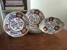 Early Antique Set Of Spodes Imperial Cottage Imari Plates Dessert Dishes