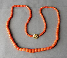 Old Vintage Antique Chinese Natural Orange Coral Necklace w Flower Clasp 24 1/2