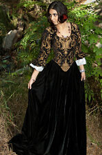 Renaissance Black Brocade & Velvet SWANN DRESS COSTUME All sizes S M L plus
