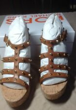 KORS MICHAEL KORS Womens Kaida Brown  Wedges 9 1/5 B,M) Retail $285.00