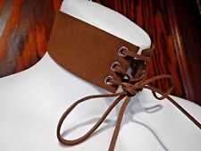 BROWN FAUX LEATHER/SUEDE CORSET COLLAR choker necklace steampunk western boho R1