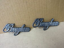 "CADILLAC EMBLEM ORNAMENT "" BROUGHAM "" CHROME BLUE FIELD GROUP OF 2 PIECES"