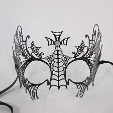 Women Fashion Black Metal Cross Face Mask Silver Rhinestone Halloween Spider Net