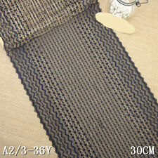 """1 Yard Black Stretch Lace Trim Tulle Dot For DIY Craft Lingerie Wide 11 1/2"""""""