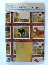 VINTAGE HUNTING DOGS GIFT WRAP PAPER & CARD NIP GIBSON GREETINGS