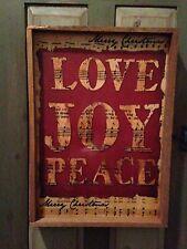Primitive Vintage Inspired Distressed Frame in Tobacco Lath - LOVE JOY PEACE