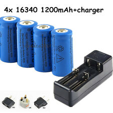 4x1200mAh CR123A 16340 Flashlight Torch Rechargeable Battery+18650 14500 Charger