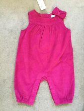 BABY GAP PINK FINE CORDUROY PLAYSUIT WITH SMALL BOW ON SHOULDER - 0-3M BNWT