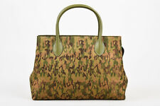 VINTAGE Alaia Metallic Green Brown Bronze Canvas Camo Leather Trim Tote Bag