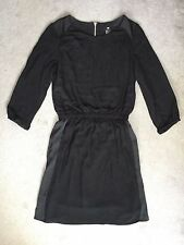 H&M BLACK 3/4 SLEEVE DRESS WITH ELASTICATED WAISTBAND- SIZE 6 PERFECT