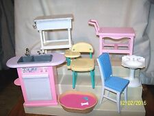 Barbie Furniture Lot of 7 School Desk Kitchen Sink Bathroom Sink Pet Bed Sounds