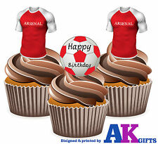 12 x Arsenal Happy Birthday Football Pack EDIBLE WAFER CAKE TOPPERS Stand Ups