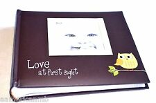 Pioneer Baby Girl Photo Albumw Green Owl 200 4x6 Pictures Frame On Brown Cover