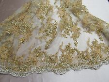 Super Bridal luxury wedding beaded gold mesh lace fabric. Sold by the yard.