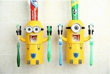 Cute Minions Design Set Cartoon Yellow Toothbrush Holder Automatic Dispenser.