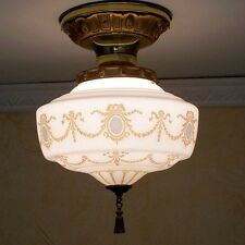 995 Vintage VICTORIAN SchoolHouse Ceiling Light Fixture Glass kitchen hall entry