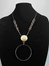 Fossil Brand Hematite-tone Large Twisted Circle Pendant Chain Necklace $65