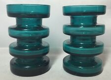 Vintage Pair Of Candle Or Mini Glass Vases Retro Hooped Art Glass